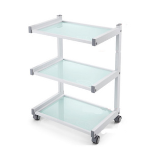 White 3 Tier Glass Shelved Trolley (6038)