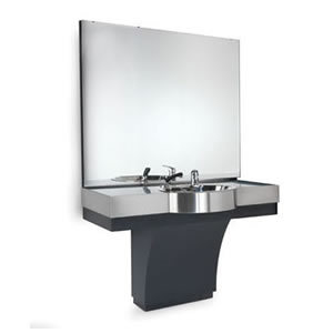 REM Duke Barbers Standard Styling Unit With Stainless Steel Basin And Mixing Valve Set