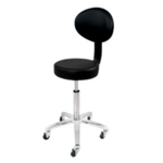 Deo Cutting/Beauty Technicians Stool With Back Rest in Black