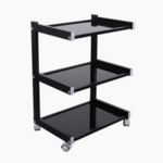 Black 3 Tier Glass Shelved Trolley